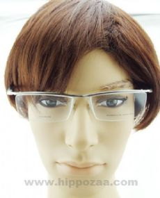 PORSCHE DESIGN ครึ่งกรอบแว่นตา Titanium Frame สีบรอนซ์เงิน  ขาแว่นสีดำ