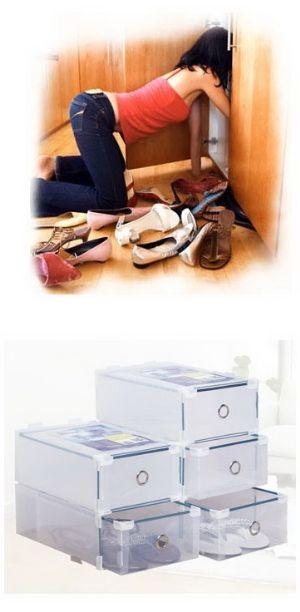 กล่องใส่รองเท้าคุณผู้หญิง-สีใสแบบลิ้นชัก (195บาท/2กล่อง)