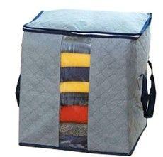 กระเป๋าเก็บเสื้อผ้าวัสดุผ้าใยไผ่ (size S)