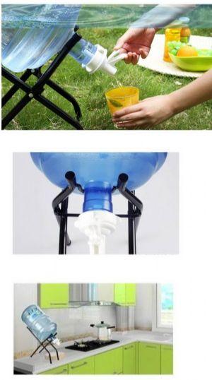 ของใช้ในบ้าน : ขาตั้งน้ำดื่มถังแกลลอนเหล็กเคลือบสีพร้อมก็อกหัวจ่ายพกพาได้