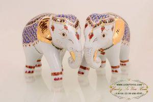 ช้างคู่เบญจรงค์ (ใหญ่)
