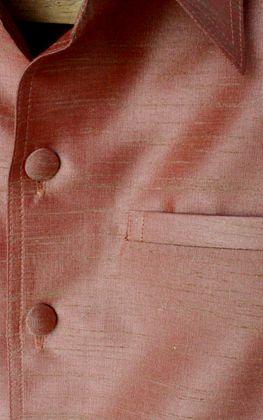 เสื้อสูทชายผ้าไหมเทียมสีทองส้ม