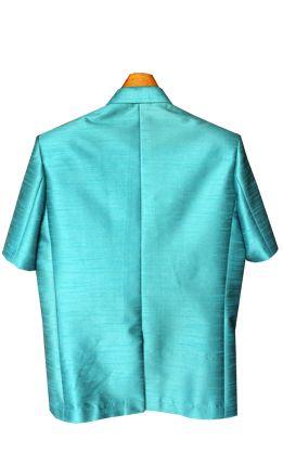 เสื้อสูทชายผ้าไหมเทียมสีฟ้าอมเขียว