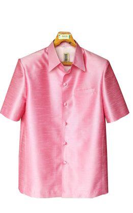 เสื้อสูทชายผ้าไหมเทียมสีชมพู