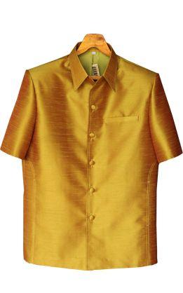 เสื้อสูทชายผ้าไหมเทียมสีทอง