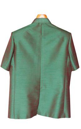 เสื้อสูทชายผ้าไหมเทียมสีเขียวเข้ม