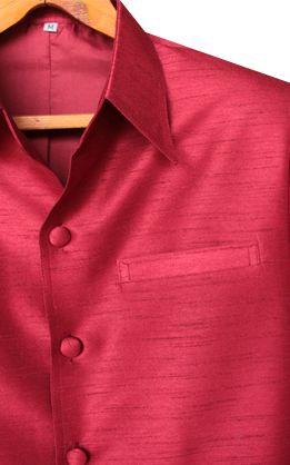 เสื้อสูทชายผ้าไหมเทียมสีแดง