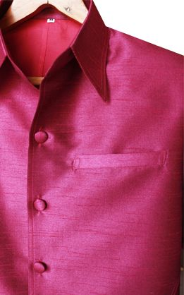 เสื้อสูทชายผ้าไหมเทียมสีม่วงเม็ดมะปราง