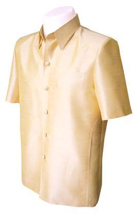 เสื้อสูทชายผ้าไหมแพรทิพย์สีเหลือง