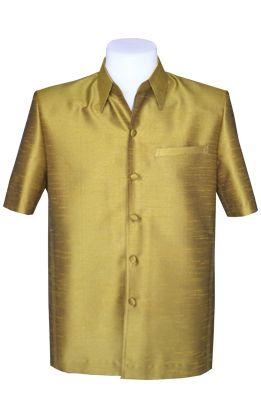 เสื้อสูทชายผ้าไหมแพรทิพย์สีทอง