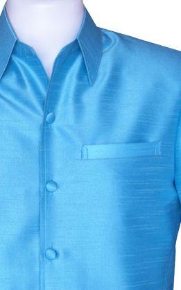เสื้อสูทชายผ้าไหมแพรทิพย์สีฟ้า