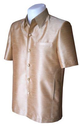 เสื้อสูทชายผ้าไหมแพรทิพย์สีทองเหลือง