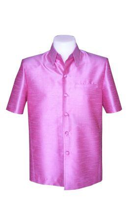 เสื้อสูทชายผ้าไหมแพรทิพย์สีชมพู