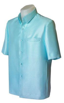 เสื้อผ้าไหมเทียมลายลูกแก้วยกดอกสีฟ้า