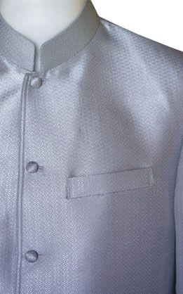 เสื้อผ้าไหมเทียมลายลูกแก้วยกดอกสีเงินแขนยาว
