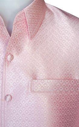 เสื้อผ้าไหมเทียมลายลูกแก้วยกดอกสีชมพูอ่อน