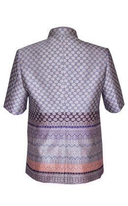 เสื้อสูทชายผ้าฝ้ายหมักโคลนยกดอกจังหวัดสุโขทัย