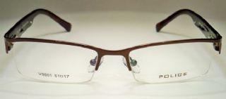 POLICE ครึ่งกรอบแว่นตา Stainless สีน้ำตาลเงา  ขาแว่น Acetate สีน้ำตาลกระ