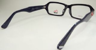 EVISU กรอบแว่นตา Acetate Frame สีดำ  ขาแว่นสีพื้นน้ำเงินเข้มลายกากเพขร