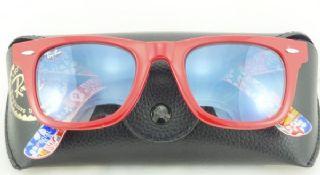 RAY-BAN RB2140 1139/71 WAYFARER  กรอบแว่นกันแดดสีแดง เลนส์ไล่สีฟ้าอ่อน