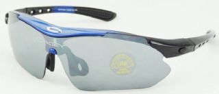 Oakley ครึ่งกรอบแว่นกันแดดสีน้ำเงิน-ดำ เปลี่ยนเลนส์กันแดดได้ 5 เลนส์
