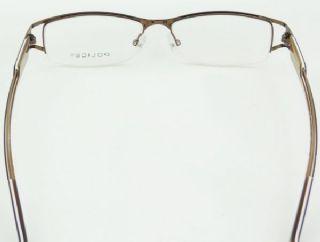 POLICE ครึ่งกรอบแว่นตา Stainless สีน้ำตาล ขาแว่นสีน้ำตาล