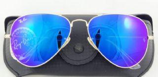 RAY-BAN RB3026 AVIATOR กรอบแว่นกันแดดสีทองด้าน เลนส์สีเขียวฉาบปรอทสีน้ำเงินไพลิน