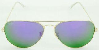RAY-BAN RB3026 AVIATOR กรอบแว่นกันแดดสีทองด้าน เลนส์สีเขียวฉาบปรอทสีม่วง