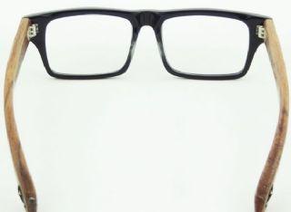 Sagawa Fujii กรอบแว่นตา Acetate สีดำ ขาแว่นไม้สีน้ำตาล