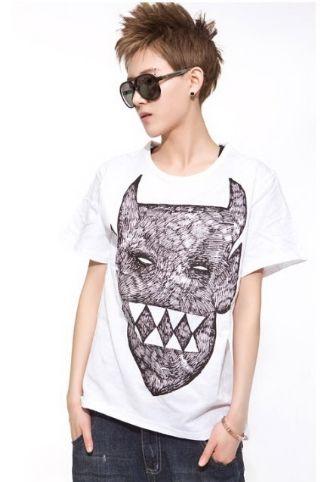 เสื้อผ้าผู้ชาย : t-shirt พิมพ์กราฟฟิค monster