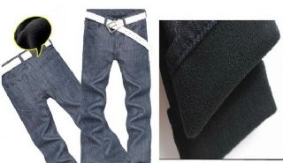 เสื้อผ้าผู้ชายพร้อมส่ง : กางเกงยีนส์ด้านในบุผ้า fleece หนาอบอุ่น