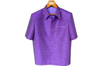 เสื้อสูทชายผ้าไหมเทียมสีม่วง