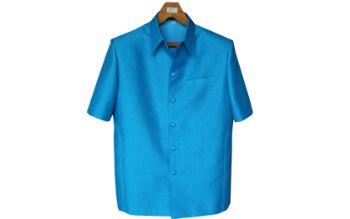 เสื้อผ้าฝ้ายลายลูกแก้วสีฟ้าน้ำทะเล