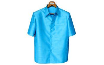 เสื้อสูทชายผ้าไหมเทียมสีฟ้า