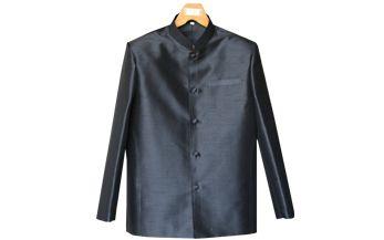 เสื้อสูทชายผ้าไหมเทียมสีดำ(แขนยาว)