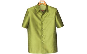 เสื้อสูทชายผ้าไหมเทียมสีเขียวอ่อน