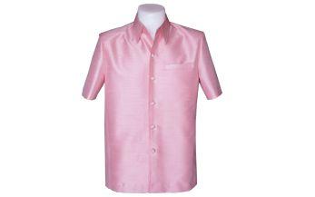 เสื้อสูทชายผ้าไหมแพรทิพย์สีโอรส