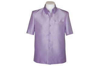 เสื้อผ้าไหมเทียมลายลูกแก้วยกดอกสีม่วง