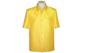 เสื้อผ้าไหมเทียมลายลูกแก้วยกดอกสีเหลืองดอกคูน