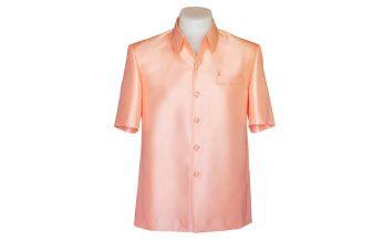 เสื้อผ้าไหมเทียมลายลูกแก้วยกดอกสีโอรส
