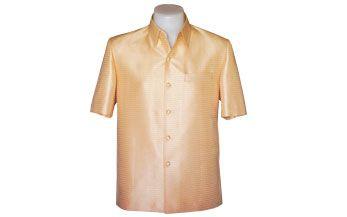 เสื้อผ้าไหมเทียมลายลูกแก้วยกดอกสีทอง