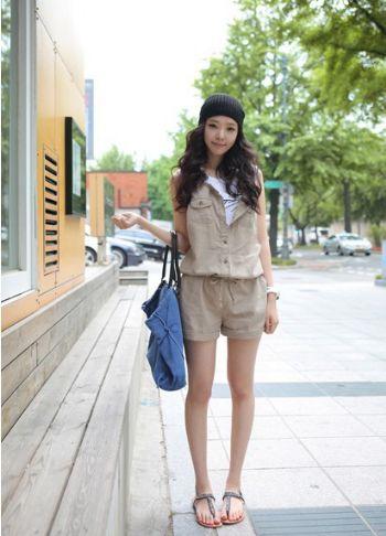 เสื้อผ้าแฟชั่น เสื้อผ้าเกาหลี ชุดหมีขาสั้นสีกากี