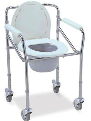 PS 119 เก้าอี้นั่งถ่ายเหล็กชุบพับเก็บได้ ล้อ 3 นิ้ว