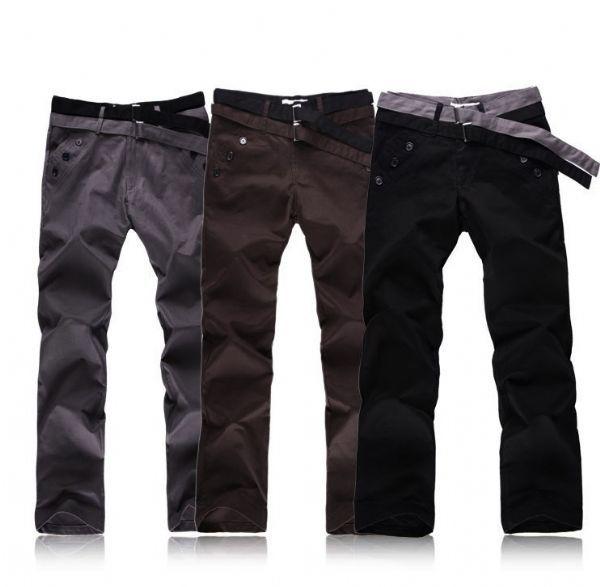 เสื้อผ้าผู้ชาย: กางเกงสไตล์เกาหลีเข็มขัด 2 เส้น