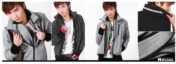 เสื้อผ้าผู้ชาย เสื้อกันหนาวผู้ชาย : โค้ทซิป 2 ชั้นเท่มาก