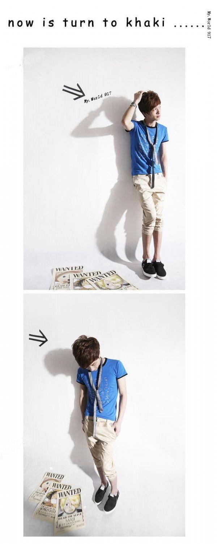 เสื้อผ้าผู้ชาย : กางเกงสามส่วนกระเป๋าเอี๊ยมรูดปลายขา