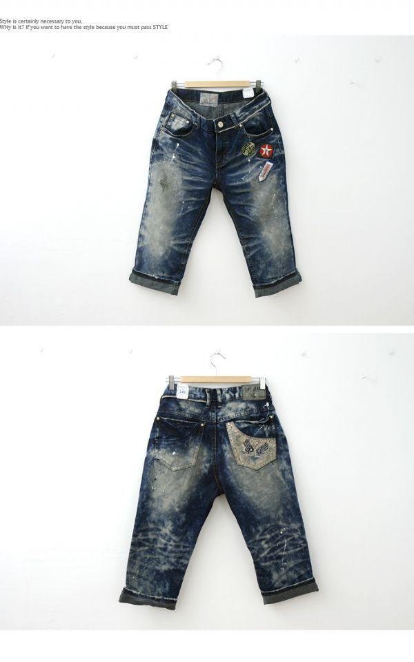 เสื้อผ้าผู้ชาย : กางเกงนยีนส์สามส่วน painting