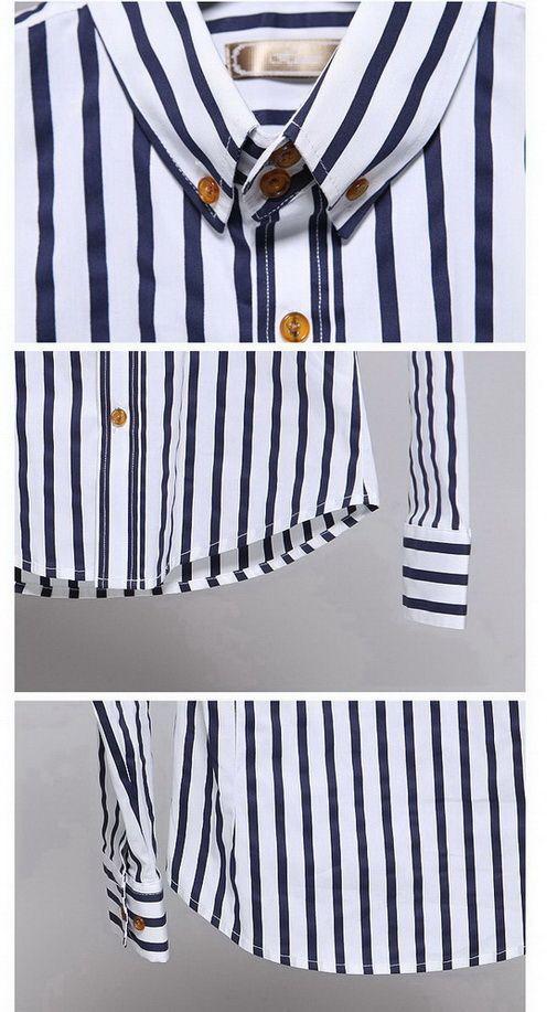 เสื้อผ้าผู้ชาย : เสื้อเชิร์ตลายทางน้ำเงินขาว