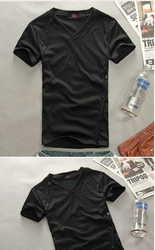เสื้อผ้าผู้ชาย : t-shirt แต่งกระดุมเก๋