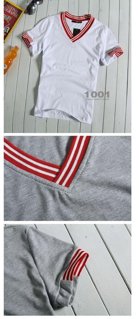 เสื้อผ้าผู้ชาย : เสื้อคอวีแต่งคอขาวแดง